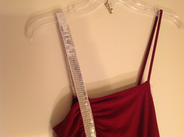 Juniors Deep Red Sequin Strap Rouched Design Formal Dress by E K Size Medium image 5