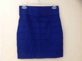 Juniors Blue Bodycon Above the Knee Skirt Wide Waistband Forever 21 Size Large image 4