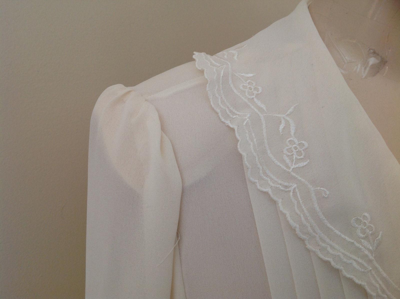 Karen Scott Cream Lace Collared Pleated Design Chiffon Top Made in Korea Size 10
