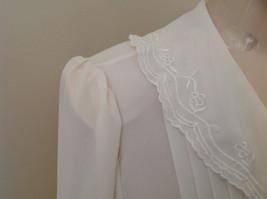 Karen Scott Cream Lace Collared Pleated Design Chiffon Top Made in Korea Size 10 image 5