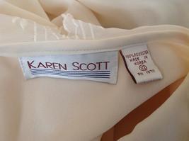Karen Scott Cream Lace Collared Pleated Design Chiffon Top Made in Korea Size 10 image 8