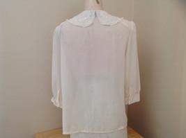 Karen Scott Cream Lace Collared Pleated Design Chiffon Top Made in Korea Size 10 image 7