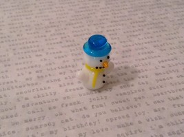Micro miniature hand blown glass Snowman With Blue Hat Christmas  USA NIB image 2