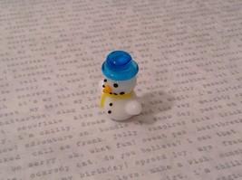 Micro miniature hand blown glass Snowman With Blue Hat Christmas  USA NIB image 3