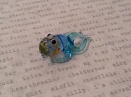 Micro miniature hand blown glass figurine USA blue speckled octopus NIB image 3