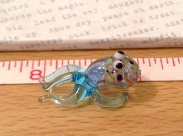 Micro miniature hand blown glass figurine USA blue speckled octopus NIB image 6