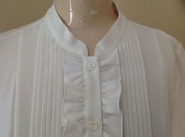 Kathy Che White Frilly Pleated Button Up Short Sleeve Shirt Made in China Size M image 3