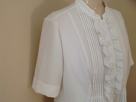 Kathy Che White Frilly Pleated Button Up Short Sleeve Shirt Made in China Size M image 5