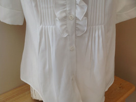 Kathy Che White Frilly Pleated Button Up Short Sleeve Shirt Made in China Size M image 6
