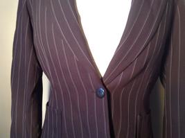 Kenar Dark Brown White Stripes 2 Front Pockets 1 Button Closure Blazer Size 4 image 2