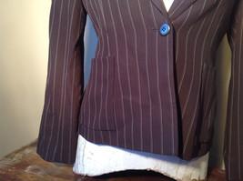 Kenar Dark Brown White Stripes 2 Front Pockets 1 Button Closure Blazer Size 4 image 3