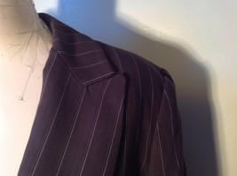 Kenar Dark Brown White Stripes 2 Front Pockets 1 Button Closure Blazer Size 4 image 4