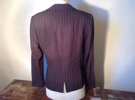 Kenar Dark Brown White Stripes 2 Front Pockets 1 Button Closure Blazer Size 4 image 6