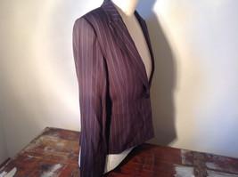 Kenar Dark Brown White Stripes 2 Front Pockets 1 Button Closure Blazer Size 4 image 5