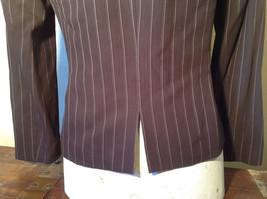 Kenar Dark Brown White Stripes 2 Front Pockets 1 Button Closure Blazer Size 4 image 7