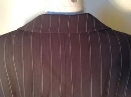 Kenar Dark Brown White Stripes 2 Front Pockets 1 Button Closure Blazer Size 4 image 8