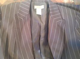 Kenar Dark Brown White Stripes 2 Front Pockets 1 Button Closure Blazer Size 4 image 10
