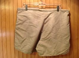 Khaki Athletic Shorts Adjustable Waist Netting Inside Pockets Measurements Below image 4