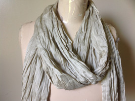Khaki Colored Scrunched Style Silk Blend Scarf by Look Tags Attached Tasseled image 3
