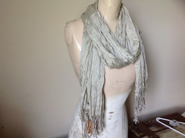 Khaki Colored Scrunched Style Silk Blend Scarf by Look Tags Attached Tasseled image 2