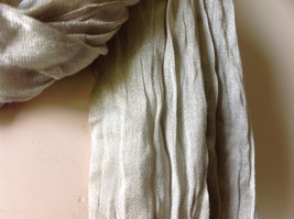 Khaki Colored Scrunched Style Silk Blend Scarf by Look Tags Attached Tasseled image 6