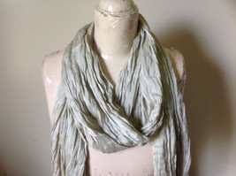 Khaki Colored Scrunched Style Silk Blend Scarf by Look Tags Attached Tasseled image 8