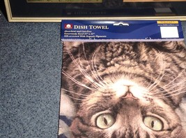 Kitchen Cotton Towel Standard Brown Tabby Cat Lying Down Profile Made in USA image 3