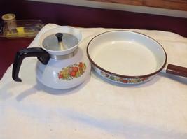 Kitchen ware w vegetable pattern 3 casseroles lids pan coffee pot vintage image 2