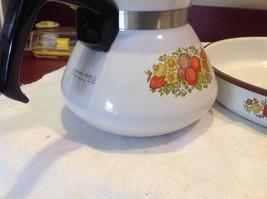 Kitchen ware w vegetable pattern 3 casseroles lids pan coffee pot vintage image 4