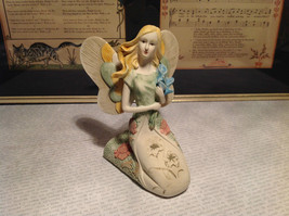 Kneeling Angel with Bouquet Mira Flora Handcrafted Resin Angel Figurine image 3