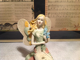 Kneeling Angel with Bouquet Mira Flora Handcrafted Resin Angel Figurine image 2