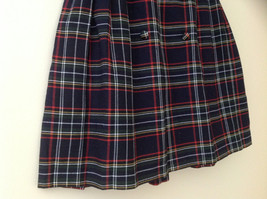 Knee Length Navy Red Plaid Buttoned Skirt Double Rows of Buttons Size S/M image 3