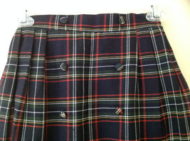 Knee Length Navy Red Plaid Buttoned Skirt Double Rows of Buttons Size S/M image 2