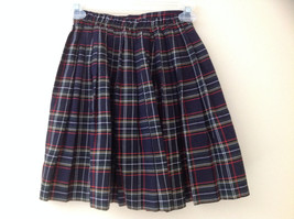Knee Length Navy Red Plaid Buttoned Skirt Double Rows of Buttons Size S/M image 5