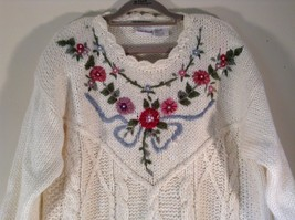 Knitted by Hand Bobbie Brooks White Sweater with Floral Pattern Size Large image 2
