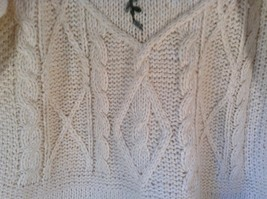 Knitted by Hand Bobbie Brooks White Sweater with Floral Pattern Size Large image 4