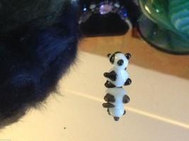 Micro miniature small hand blown glass black and white Panda USA made NIB image 3