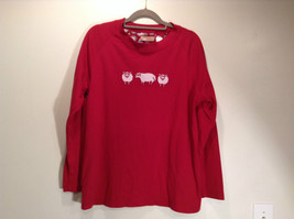 LA CERA Red Casual Long Sleeve Pajama Top Scoop Neck Size Small Sheep on Front image 5
