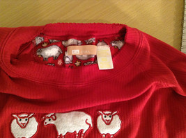 LA CERA Red Casual Long Sleeve Pajama Top Scoop Neck Size Small Sheep on Front image 4