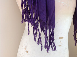 LOOK by M Purple Silk Cotton Scrunched Scarf Tassels at the Ends Tag Attached image 4