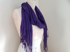 LOOK by M Purple Silk Cotton Scrunched Scarf Tassels at the Ends Tag Attached image 3