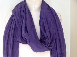 LOOK by M Purple Silk Cotton Scrunched Scarf Tassels at the Ends Tag Attached image 2