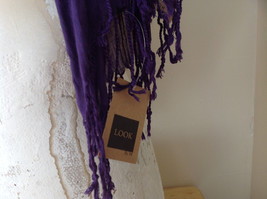 LOOK by M Purple Silk Cotton Scrunched Scarf Tassels at the Ends Tag Attached image 5