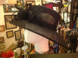 Ladies statement straw black hat w black feather & ribbon Plaza Suite NY image 5