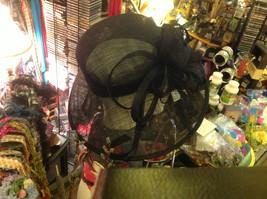 Ladies statement straw black hat w black feather & ribbon Plaza Suite NY image 7