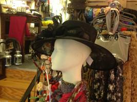 Ladies statement straw black hat w black feather & ribbon Plaza Suite NY image 6