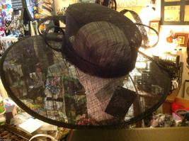Ladies statement straw black hat w black feather & ribbon Plaza Suite NY image 4