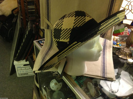 Ladies statement straw hat with  ribbon tie black and white Orchid image 2
