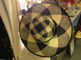 Ladies statement straw hat with  ribbon tie black and white Orchid image 3