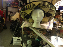 Ladies statement straw hat with  ribbon tie black and white Orchid image 4